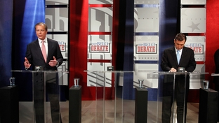 Lt. Gov. David Dewhurst and Ted Cruz at a Belo-sponsored U.S. Senate debate on April 13, 2012.