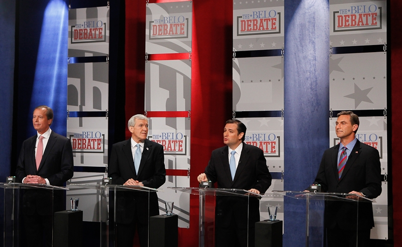 David Dewhurst, Tom Leppert, Ted Cruz and Craig James in Dallas at a U.S. Senate debate on April 13, 2012.