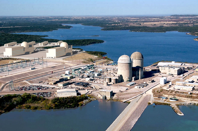 Two new reactors, shown at the upper left-hand corner of this artist's rendering, could be added to the Comanche Peak nuclear plant in Somervell County. Exelon is considering building a nuclear plant in Victoria County.
