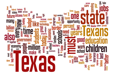 Word cloud aggregate of Rick Perry's State of the State speeches from 2001 to 2011.