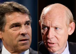 Republican Rick Perry and Democrat Bill White