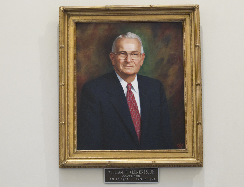 One of two portraits of former Texas Gov. William P. Clements, Jr. that hangs in the Capitol rotunda.