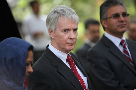 Ryan Crocker is shown at a 2011 news conference in Herat, Afghanistan. He has been on leave from Texas A&M University since President Obama tapped him to serve as U.S. ambassador to Afghanistan in April 2011.