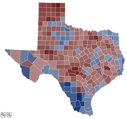 This map shows the average vote margin in all contested, statewide elections by county in 1998. Darker shades represent increased partisan divide in each county, with red representing Republican support and blue representing Democratic support.