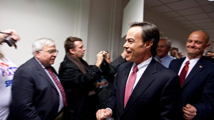 House Speaker Joe Straus entering a GOP House caucus meeting on January 10, 2011.