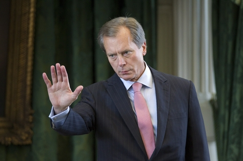 Lt. Governor David Dewhurst gestures toward Senate Democrats as they leave the chamber to caucus on Sunday afternoon May 29, 2011.