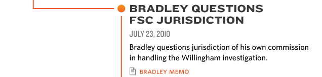 BRADLEY QUESTIONS  FSC JURISDICTION JUL 23, 2010 Bradley questions jurisdiction of his own commission  in handling the Willingham investigation bradley memo