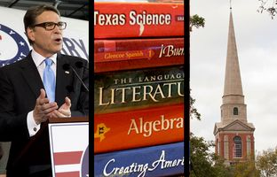 In the Roundup: A textbook publisher agrees to change a caption related to the history of slavery, several Texas lawmakers explain how God guides their governance and a court will determine whether Rick Perry's indictment should be dismissed.