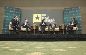 At our 11/16 symposium on higher education, I talked about the challenge of increasing higher ed outcomes with Chancellor Brian McCall of the Texas State University System; Elaine Mendoza, vice chair of the Texas A&M University System Board of Regents; former University of Texas at Austin President Bill Powers; and Wynn Rosser, CEO of the Greater Texas Foundation.