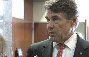 With less than a month remaining in the legislative session, Gov. Rick Perry met with the Texas House GOP Caucus and talked to reporters about his support for a bill that would draw $2 billion from the Rainy Day Fund for water infrastructure needs.