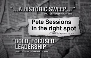 Facing a primary challenge from a Tea Party leader, U.S. Rep.Pete Sessions, R-Dallas, touts his conservative bona fides in a new television ad.