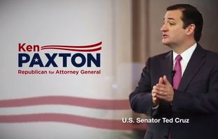 Republican attorney general candidate Ken Paxton on Monday released a new TV ad that prominently features a testimonial from U.S. Sen. and Tea Party hero Ted Cruz.