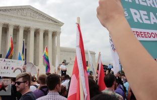 People from all over the country gathered in front of the Supreme Court awaiting its historic decision on same-sex marriage. After the court's 5-4 ruling, gay marriage supporters reacted with joy.