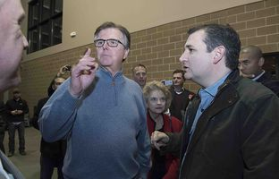 Lt. Gov. Dan Patrick is among about 500 Texans in Iowa campaigning for Ted Cruz ahead of Monday night's Iowa caucuses. Patrick will be speaking on Cruz's behalf at the same precinct caucus as Marco Rubio will attend.