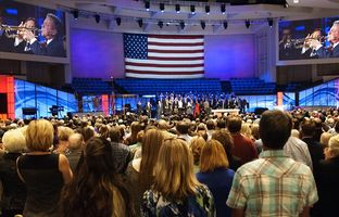 Six GOP presidential hopefuls spoke to evangelical Christians on Sunday at Prestonwood Baptist Church in Plano. Parishioners said holding such events at churches is a great way to help a key voting bloc winnow the field.