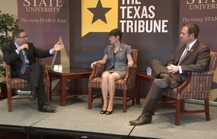 At our 12/3 Hot Seat conversation at Texas State University, state Sen. Donna Campbell, R-New Braunfels, and state Rep. Jason Isaac, R-Dripping Springs, talked about water, transportation, public education and other issues in play in the 83rd session.