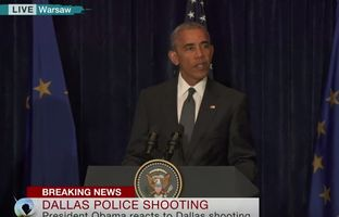 "President Barack Obama made a public statement from Poland early Friday morning, hours after sniper attacks in downtown Dallas had killed at least five police officers. ""I believe I speak for every single American when I say that we are horrified over these events,"" Obama said."