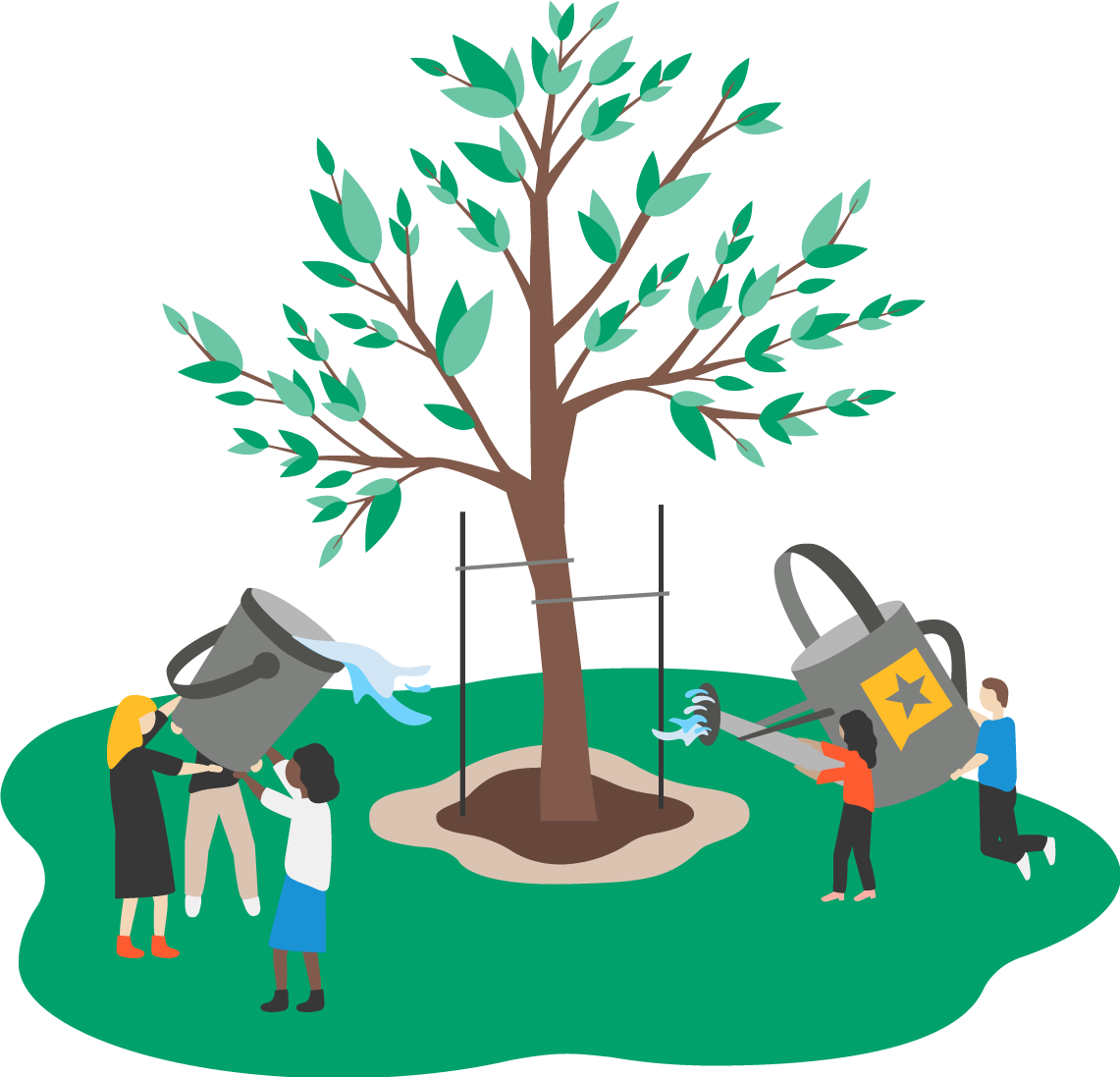 Illustration: People working together to water a tree.