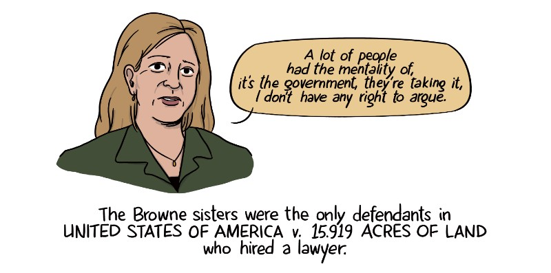 The Browne sisters were the only defendants in United States of America v. 15.919 acres of land who hired a lawyer.